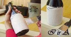 Делаем имитацию кирпичной кладки на стеклянной бутылке.
